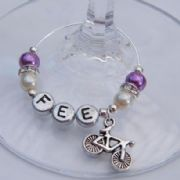 Bicycle Personalised Wine Glass Charm - Elegance Style